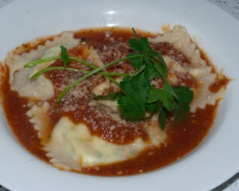 Requeson and Cilantro Ravioli in a Tomato Poblano Sauce