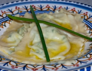 Requeson and Cilantro Ravioli in a Butter and Garlic Sauce